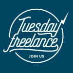 logo Tuesday Freelance bleu canard, style hipster.