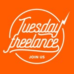 logo Tuesday Freelance orange, style hipster.